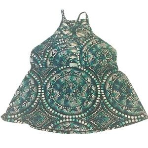 George Blue Patterned High Neck Tankini